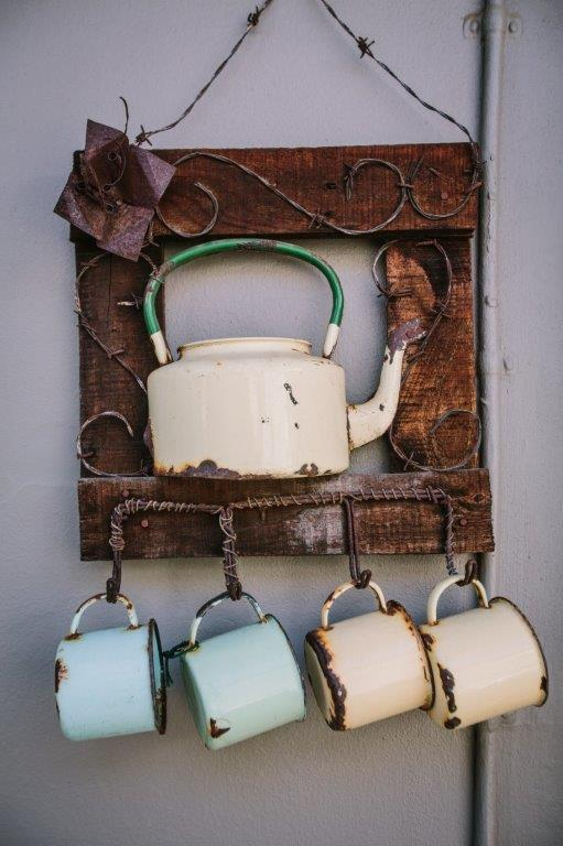 enamel pot and cups